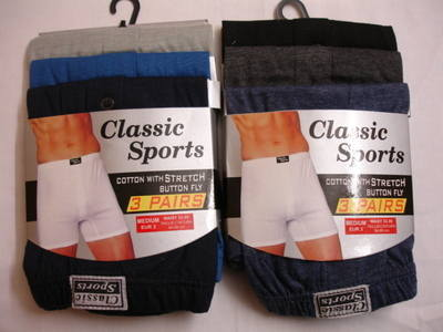 *RH129, Mens 3 in a pack Plain Boxer Shorts £1.69.  1 dozen....
