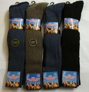 34SED034, Mens long hose wool blend socks.  1 dozen...