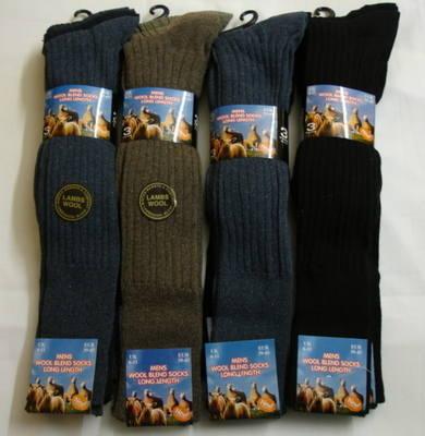 Code:34SED034, Mens 3 in a pack long hose wool blend socks £2.25.  1 dozen.