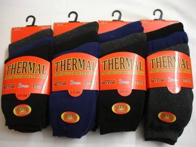 RH199, Ladies 3 in a pack dark assorted thermal socks £1.13.  1 dozen..
