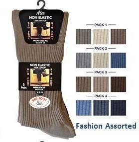 AL41, *Mens fashion assorted 100% Cotton Big Foot Non Elastic Socks 3 in a pack £1.49.1 dozen..