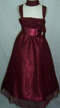 """P036BURG, """"Gorgeous Collection"""" brand girls beautiful sleeveless party dress in burgundy colour with bolero £16.95.  pk3.."""
