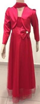"""P036RED, """"Gorgeous Collection"""" brand girls beautiful sleeveless party dress in red colour with bolero £16.95.  pk3.."""