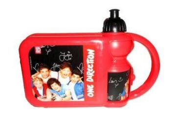 """""""One Direction"""" red/black hard lunch box & sports bottle set £1.00.  pk6..."""