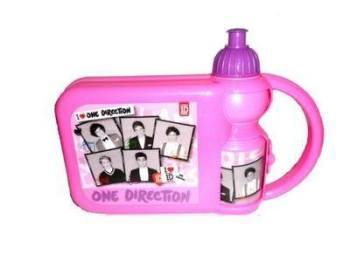 """One Direction"" pink hard lunch box & sports bottle set £1.00.  pk6.."
