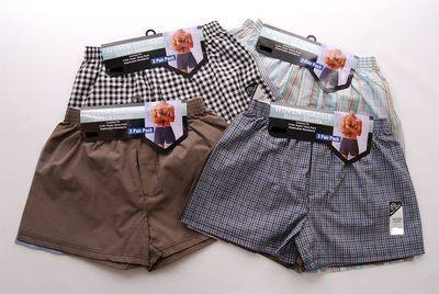 Mens 3 in a pack woven boxer shorts from £2.74.  1 DOZEN...