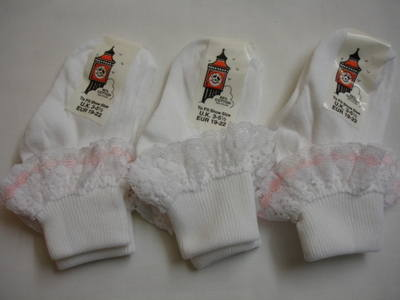TOT2,  Girls frilly lace ankle socks, 1 dozen...