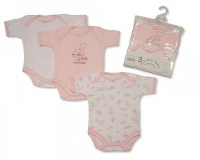 BW301G, Girls 3 Pack Short Sleeve Env Neck Cotton Bodysuit £3.50.  8pks..