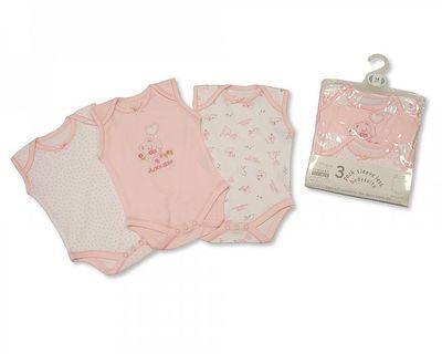 BW0310G, Girls 3 Pack Sleeveless Env Neck Cotton Bodysuit  £3.25.  8pks....