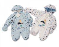 """BIS1488, """"Nursery Time"""" brand baby boys snowsuit with """"Dinosaur"""" theme £9.00.  pk12.."""