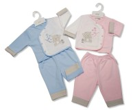 "BIS1506, ""Nursery Time"" brand baby 2 piece set with ""Blowing Bubble"" embroidery/applique £4.95.  pk6.."