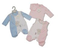 "BIS1505, ""Nursery Time"" brand baby 2 piece dungaree set with ""Blowing Bubble"" embroidery/applique £4.95.  pk12.."