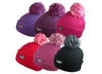 HAI796R, Ladies Ribbed Pom Pom Hat with Rockjock R40 Thermal Insulation £1.30. pk12....