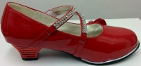 "Code:551/1R, ""Gorgeous Collection"" girls beautiful party shoes in red £8.50.  pk12.."