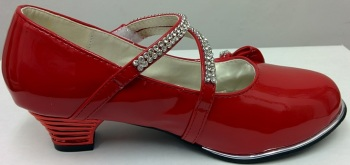 """Code:551/1R, """"Gorgeous Collection"""" girls beautiful party shoes in red £8.50.  pk12.."""