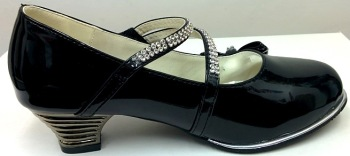"""Code:551/1B, """"Gorgeous Collection"""" girls beautiful party shoes in black £8.50.  pk12.."""