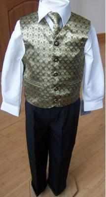 Code:109, Boys gold colour waistcoat suit