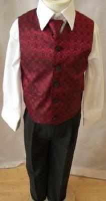 Code:109, Boys burgundy waistcoat suit