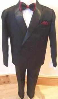 Code:N2, Boys 4 piece black suit including jacket,shirt,trouser & bow tie..