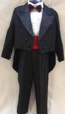 *Code:N1, Boys black top & tail 5 piece suit....