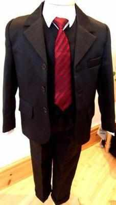 Code:N3, Boys black 5 piece suit consisting of shirt,jacket,waistcoat,trous