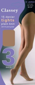 """Classey"" brand 3 in a pack 15 denier X Large Tights with Full Panel Gusset £1.74. 1 dozen...."