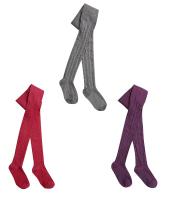 46B200, Girls cotton rich cable design tights in assorted colours £1.35.  pk18...