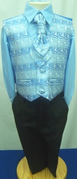 (C), Code:125, Boys stylish blue waistcoat suit with a cravat....