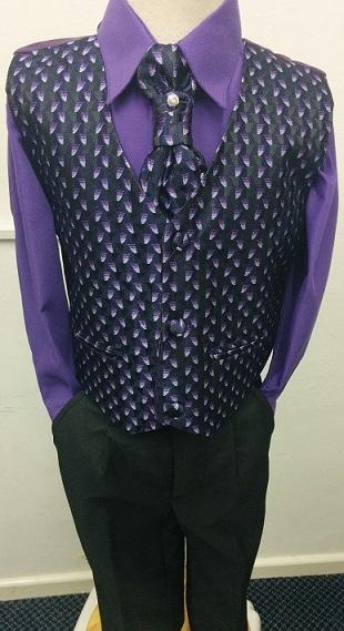 (C), Code:125, Boys stylish purple waistcoat suit with a cravat....