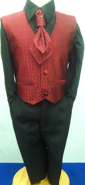 (C), Code:125, Boys stylish red waistcoat suit with a cravat....