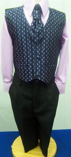 (C), Code:125, Boys stylish lilac waistcoat suit with a cravat....