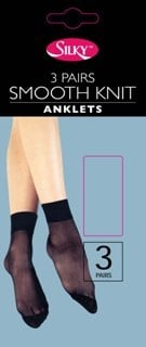 """""""Silky"""" brand smooth knit 3 pair pack anklets £0.75.  pk6..."""