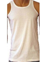 "MV5, ""Five Star"" brand mens white interlock vest in larger sizes, 1 dozen......"
