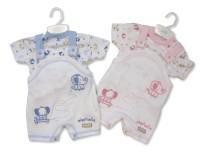 "BIS1583, ""Nursery Time"" brand baby 2 pcs short dungaree set with ""Elephant"" theme £5.50.  pk12.."