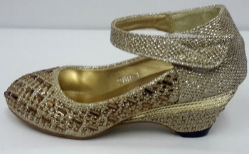 """Code:288, """"Gorgeous Collection"""" Girls Party Shoes in Gold Colour £9.50.  pk6...."""