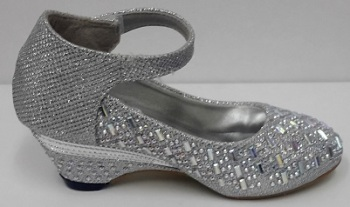 """Code:288, """"Gorgeous Collection"""" Girls Party Shoes in Silver Colour £9.50.  pk6...."""