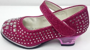 """Code:551-25 """"Gorgeous Collection"""" Girls Party Fuchsia Shoes £9.50.  pk6...."""