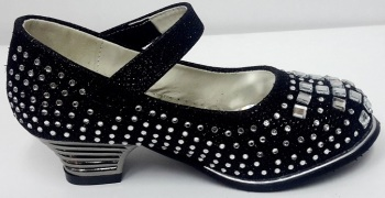 """Code:551-25 """"Gorgeous Collection"""" Girls Party Black Shoes £9.50.  pk6...."""