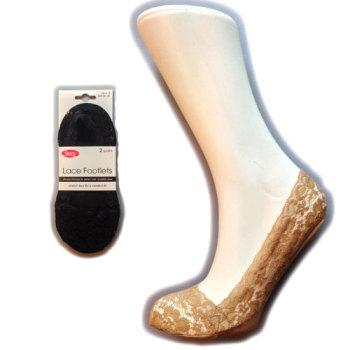 """Silky"" brand ladies 2 pair pack lace footlets £2.71.  6pks..."