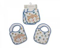 "BW708, ""Nursery Time"" brand baby boys 2 in a pack velcro bibs with ""Dog/Paw"" detail £2.10.   6pks..."