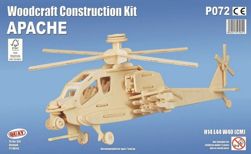 Apache helicopter Woodcraft Construction Kit