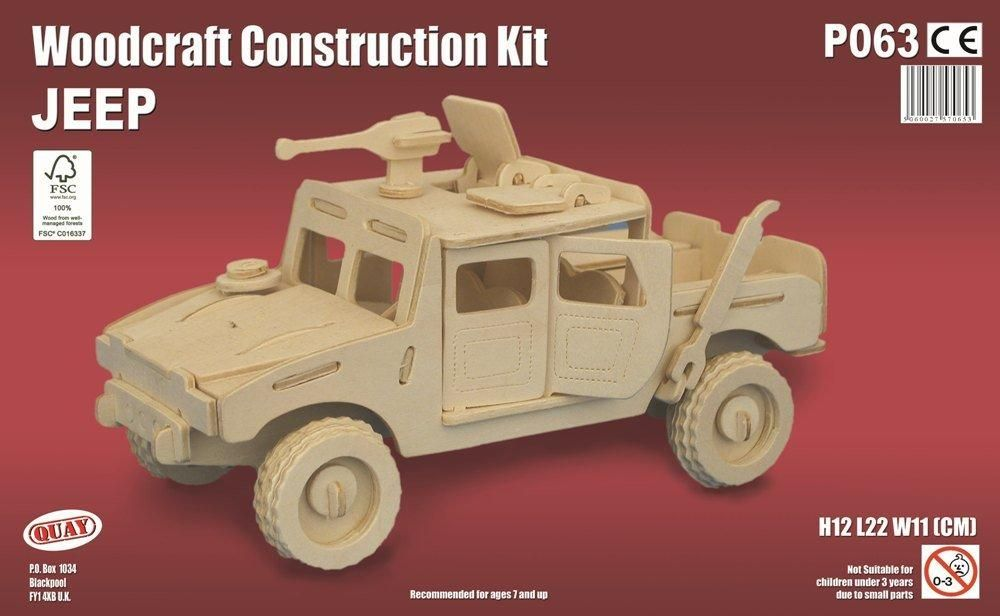 Armoured Jeep Woodcraft Model Construction Kit