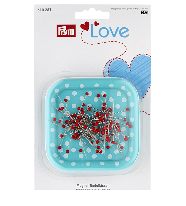 Prym Love Magnetic Pin Cushion with Glass-Headed Pins