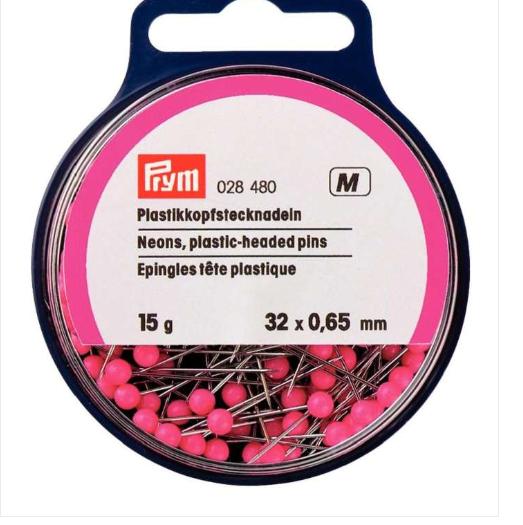 Plastic Headed Pins - Neon Pink - 0.65 x 32mm