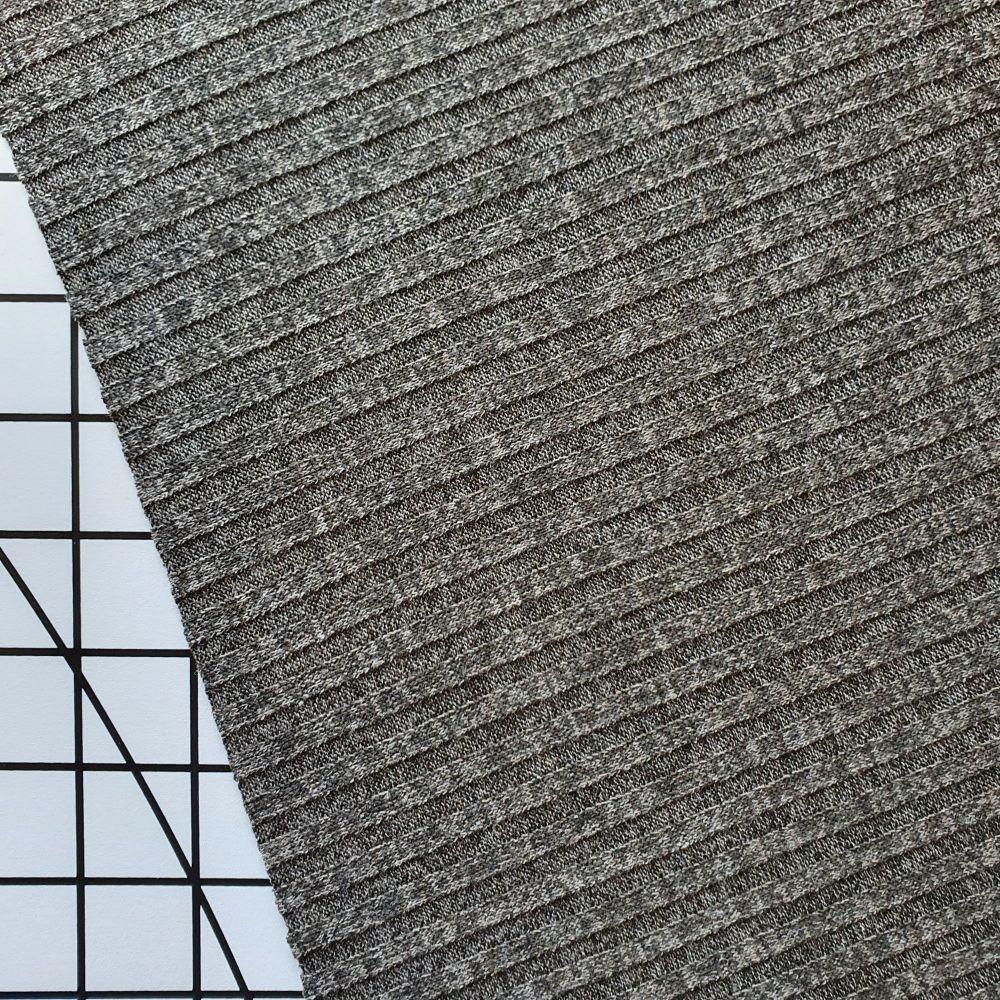 Khaki/Brown - Melange Rib Knit