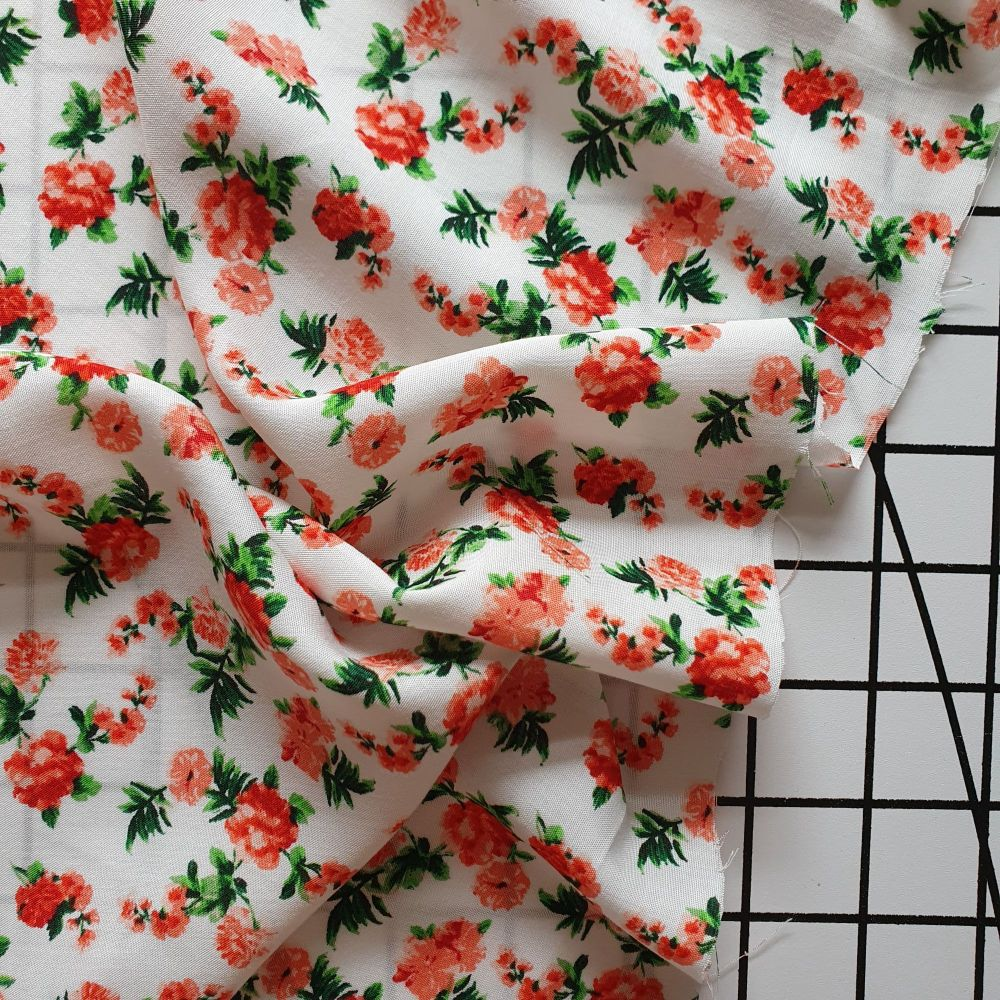 Roses on White - Rayon