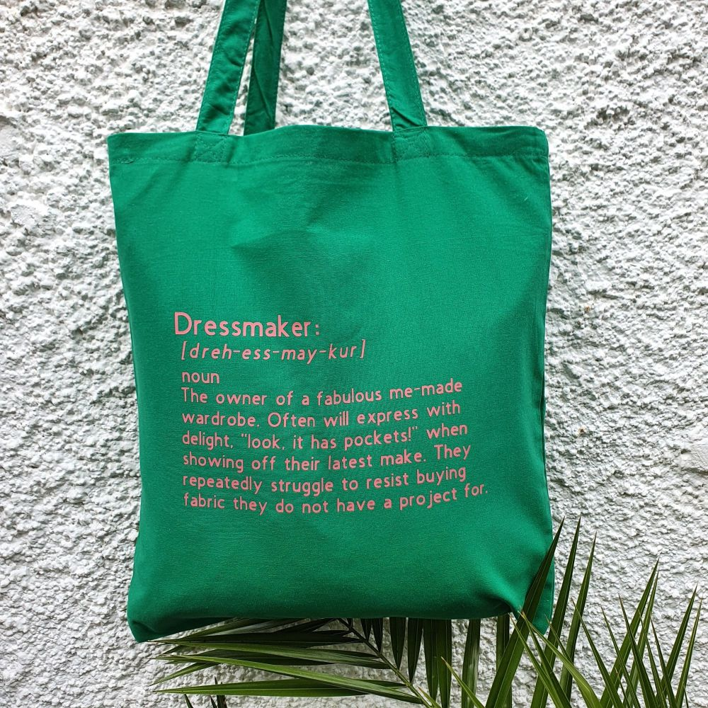 PRE-ORDER Dressmaker - Green/Coral Tote Bag (Dispatched by 14th August)