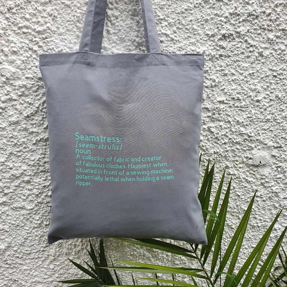 PRE-ORDER Seamstress - Grey/Aqua Tote Bag (Dispatched by 14th August)