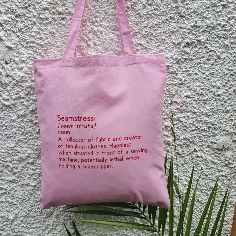 PRE-ORDER Seamstress - Pink/Red Tote Bag (Dispatched by 14th August)