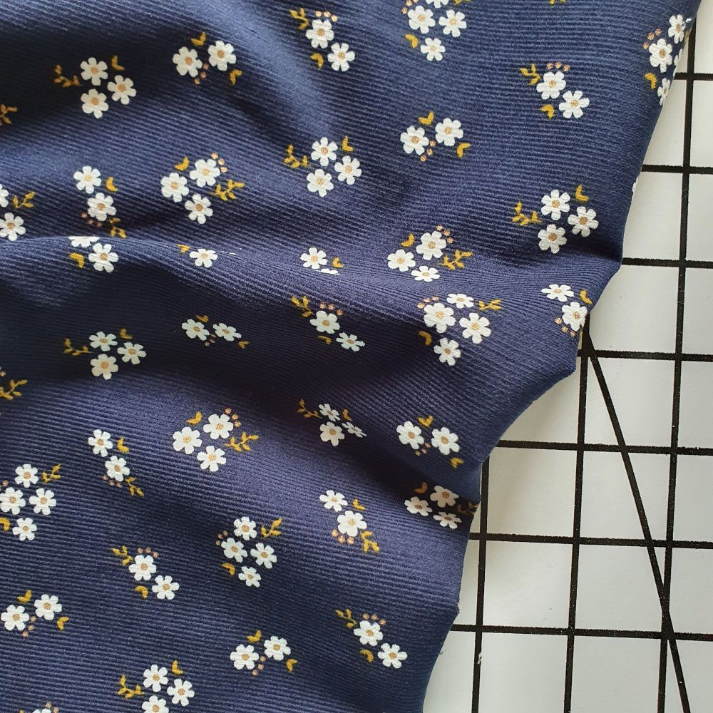 Floral Babycord - Navy